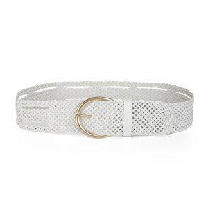 BCBG White Braided Plaited Faux Leather Belt